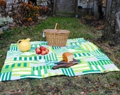 Green Marimekko Picnic Blanket- Roll up Picnic Blanket- Ready to Ship