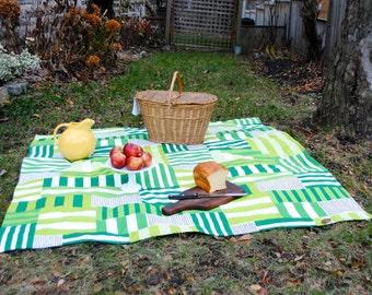 Green Marimekko Picnic Blanket- Roll up Picnic Blanket- Ready to Ship
