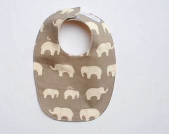 Organic Baby Bib-  Silver Elephants- Eco Friendly Modern Bib for Boys and Girls