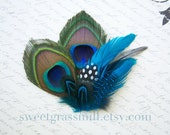 Peacock Brooch - AVEC MER - Peacock Teal Turquoise Polka Dot Feathers - Choose Brooch Corsage Headband or Clip