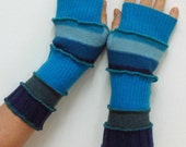 Navy Blue Turquoise Wool Fingerless Upcycled Mittens