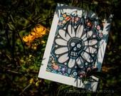 Blank Greeting Card - Day of the Dead Daisy - Sugar Skull mosaic
