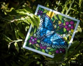 Blank Greeting Card - Blue Beauty Butterfly mosaic
