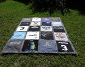 Custom Twin Size Tshirt Memory Quilt made with  20 of  your own T shirts