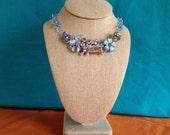 Crystal vintage bluebird necklace