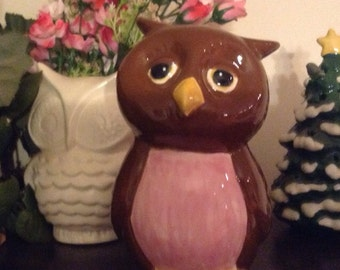 OWL Bank  Ceramic  Glazed  hootie Owl  ...Owlet baby shower Nursery hoot Owl