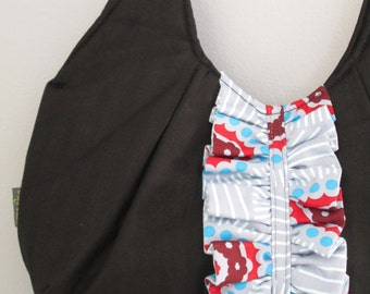 Small Shoulder Bag, Small Black Handbag, Fabric Shoulder Bag, Pleated Purse, Purse with Ruffle, Small Black Purse