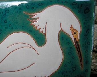 Snowy Egret Tile, CUSTOM ORDER - 4-6 wks production time