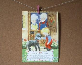 Mother Goose Full Color Vintage Flashcards   Set of 10   Choose your Size