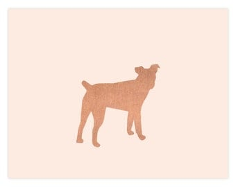 Stationery Dog Breed Silhouette In Rose Gold Foil on Blush Stock Set of 12 All Breeds