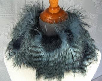 Faux Fur NECKWARMER Scarf, Navy Blue Feathered Faux Fur Neckpiece, Fur Collar, Women's Circular Cowl