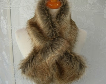 Faux Fur NECKWARMER Scarf with loop, Tip Dyed Fox Faux Fur, Fur Neckpiece, Fur Collar, Women's Cowl