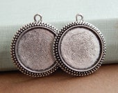 20 Antique Silver Pendant Trays for Photo Pendants 25mm / 1 inch