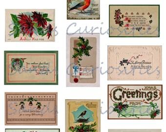 Digital Download Miniature Vintage Christmas Greetings Postcards Gift Tags