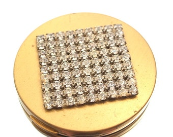 Vintage Rhinestone Powder Compact Vanity Collectible Mirror Engraved Sharon Jerry