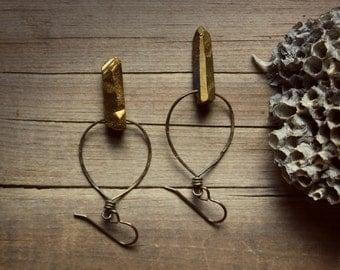 SALE ... Dagr. Rustic Golden Quartz and Hammered Antiqued Brass Earrings.