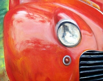 Art Vintage Car Painting Art Large Stmt Pc Retro  Commissions Taken for Your Car Portrait