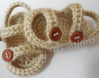 CROCHET PATTERN Baby Sandals Sport 0 to 6 mo boy boys girl girls babies booties shoes summer skill level intermediate