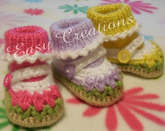 CROCHET and KNIT PATTERN, Baby Mary Jane Shoes, Booties, Tulip, Attached Socks, 0 to 9 mo, skill level intermediate