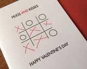 Hugs and Kisses Set of 6 Letterpress Valentine's Day Cards