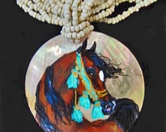 Arabian horse art handpainted necklace of mother of pearl bay1