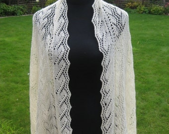 Lace Wedding Shawl /Stole / Wrap. Exqusite Hand Knit in Merino Wool