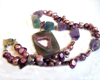 Chunky Statement Necklace - Agate Fluorite Sweetwater Pearls - Stand In Truth and Love