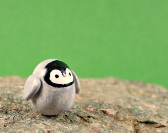 Little Baby Penguin - Miniature Figurine - Hand Sculpted Miniature Polymer Clay Animal