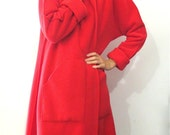 BASIA'S Provocatec Long Red High Collar Tapered  Coat with Pockets  + FREE US Shipping