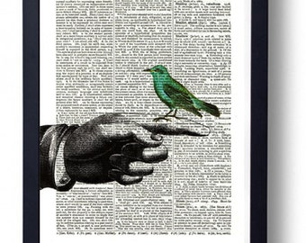 Original Art Print on A Vintage Dictionary Book Page / Bird on Finger Hand / Birds / Kitch