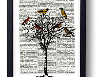 Original Art Print on A Vintage Dictionary Book Page / Tree and Birds
