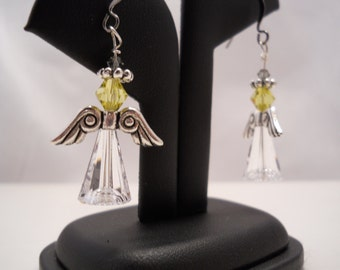 Spring Jewelry Spring Angel Earring Swarovski Crystal Earring Lemon Yellow Swarovski handmade earring Spring earring Made USA Easter Jewelry