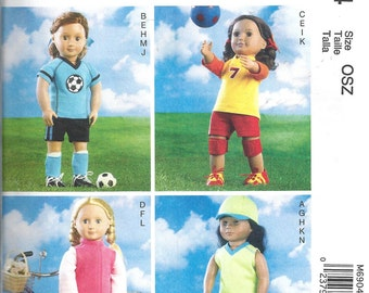 DOLL CLOTHES PATTERN Fits American Girl Doll / Sports Outfits / Soccer - Softball - Volleyball - Cycling