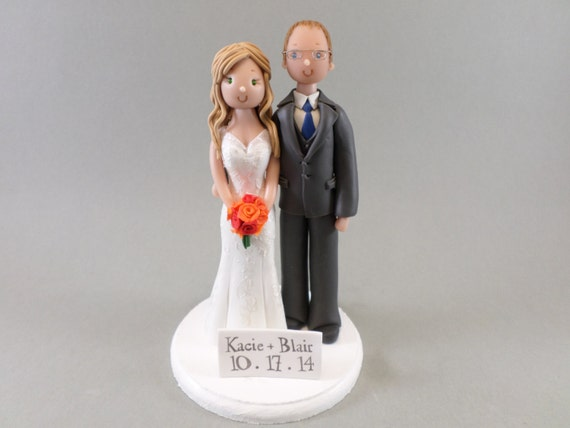 Custom Handmade Bride & Groom Wedding Cake Topper - reserved for Kacie209