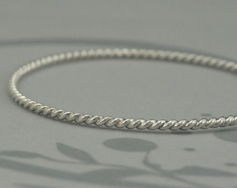 Silver Rope Bangle--Solid Sterling Silver Totally Twisted Bangle Bracelet--Perfect Textured Stacking Bangle Bracelet--Hand Made to Size
