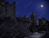 Full Moon Over Chateau Fougères Brittany France Gothic Castle Fine Art Photography Photo Print