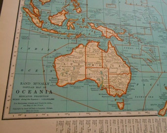 Oceania, Australia 1938 Vintage antique map, South Pacific
