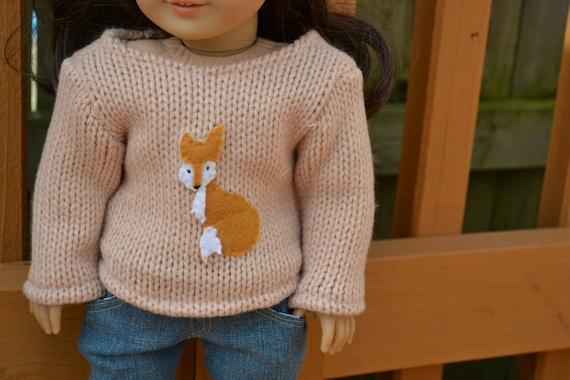 """American Girl Doll Clothes - Fox """"Boyfriend"""" Sweater - Beige Orange White"""