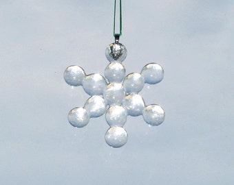 Fused Clear Glass Snowflake Ornament  -  FREE Shipping in the USA