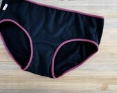 Organic cotton hipster - black french terry panties - pick your color and trim