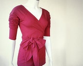 Organic wrap shirt, berry red or pick your color tunic shirt, handmade organic clothes