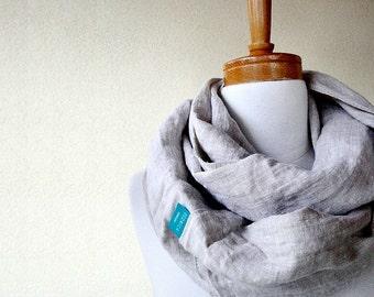 Linen infinity scarf  wrap neck warmer