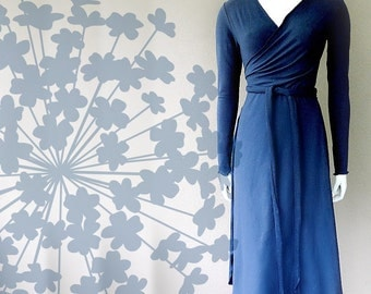 Long wrap dress in organic cotton, handmade maxi dress, blue dress, handmade organic clothing