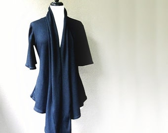 Long cardigan shirt, organic tunic top, wraparound top, handmade organic clothing for women
