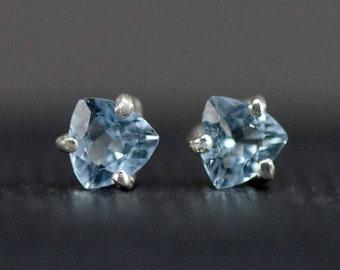 Aquamarine Studs  - Sterling Aquamarine Post Earrings - March Birthstone Earrings - 1ctw