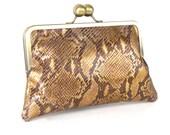 BRONZE Metallic Leather CLUTCH -  RETRO clutch - Snakeskin Embossed Purse - Brown Leather Handbag