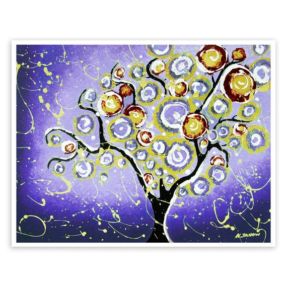 Tree of Life Wall Art Print, Purple Tree Wall Decor, Whimsical Art, Abstract Landscape, Signed Giclee Print