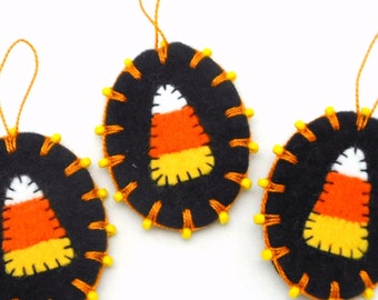 Wool Felt Halloween Candy Corn Ornaments with Beading - Set of 3