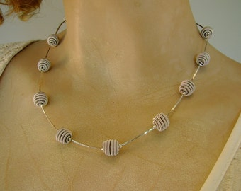 Lovely Vintage Signed Trifari Sparkling Silver Necklace with Silver Coiled Beads