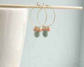 Gold Hoops Earrings with Amazonite and Coral Details